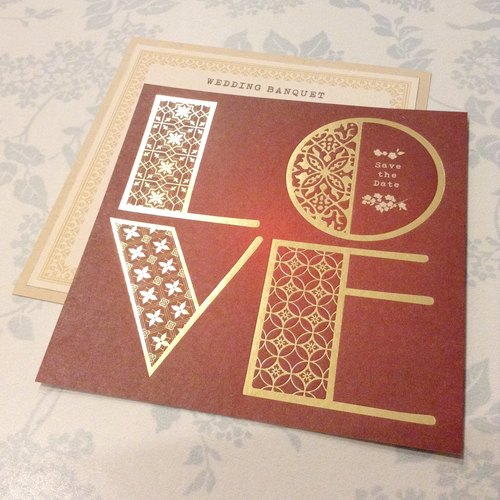 LOVE letters bronzing wedding card * 200 groups
