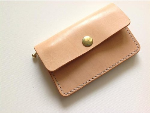 Small hand-tanned leather wallet / short clip / change card holder Type1