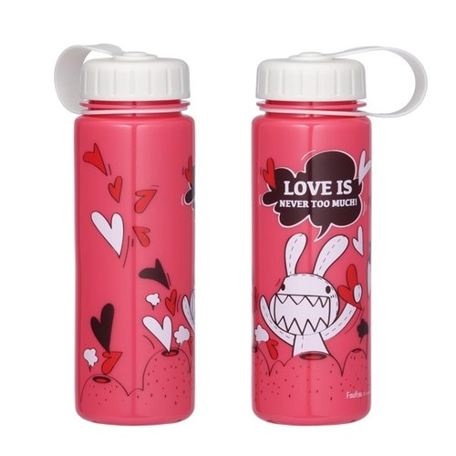"""Foufou"" 2014 carry-cold water bottles - Love outbreak Love is never too much (Berry color / tea color)."