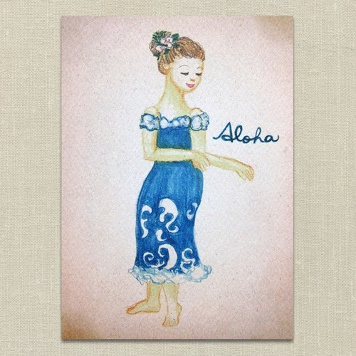 Hula Girl Postcard - Blue Currents