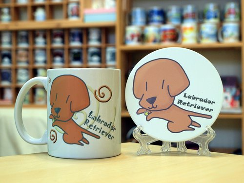 """NONCOOL. Cool farming ""Labrador. Mug (straight) - Coaster combination"