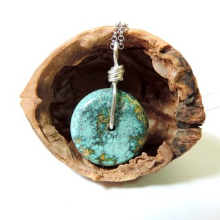 --- Simple models handmade silver turquoise 925 silver necklace ~ December birthday stone
