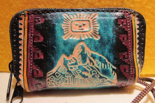 Dyeing leather handle small purse - leather brand totem (Machu Picchu)