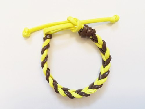 """Cannabis coffee-and-yellow imitation leather cord"""