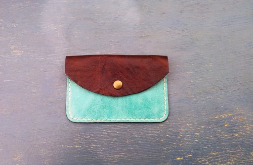 < hit color series - Coffee Brown + turquoise > sheepskin leather hand-stitched leather card holder / purse by Dai Le Studio d'EL