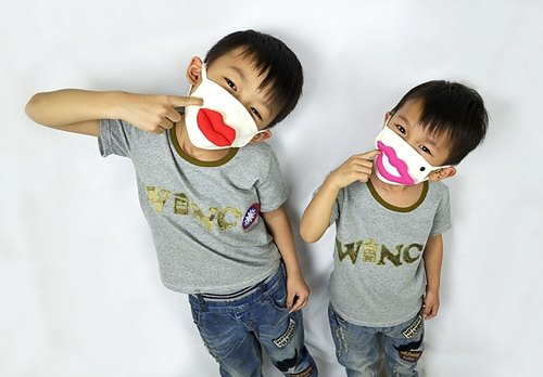 Funny child thirty-eight lips organic cotton masks