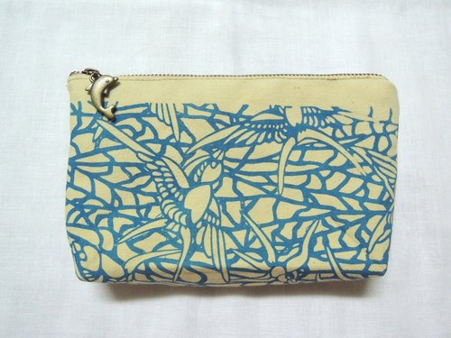 [Dye] and assorted vegetation Mumu dyeing serigraphy - bamboo and a pair of lovebirds - zipper cosmetic bag purse