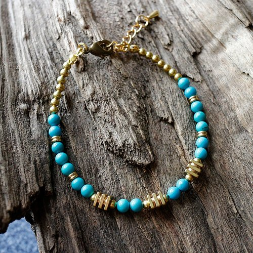 Muse natural wind series NO.234 natural stone brass neutral blue turquoise bracelet