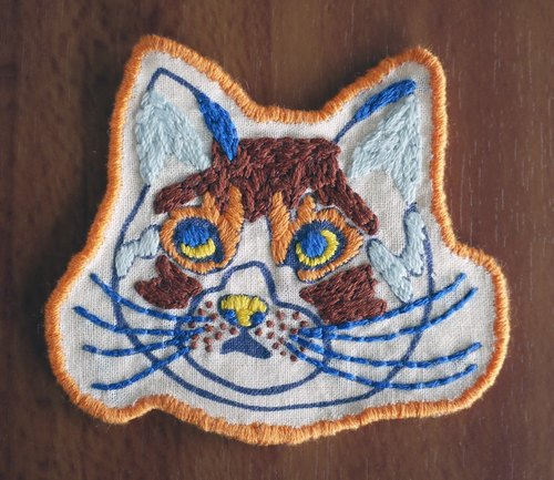 Hand Embroidered Cat Patch Brown × Orange