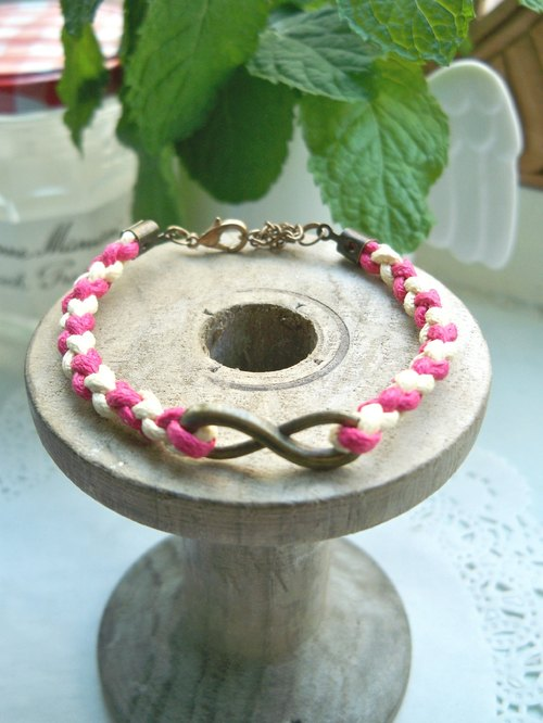 Unlimited woven bracelet - (deep pink + light yellow)