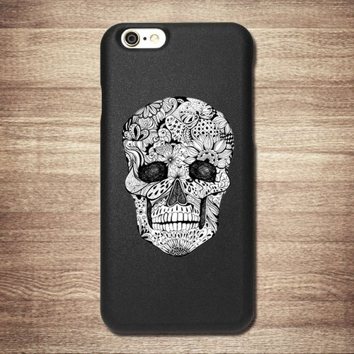 [Christmas] cranial skeleton painted black shell -3D stereoscopic relief - Ray heavy machine tattoo phone shell money card, love loving boutique design