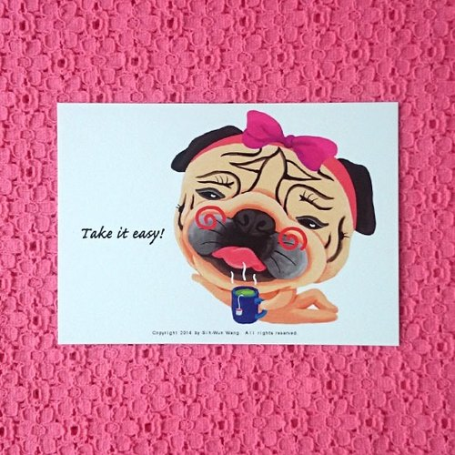 Pug Postcard-Take it easy!