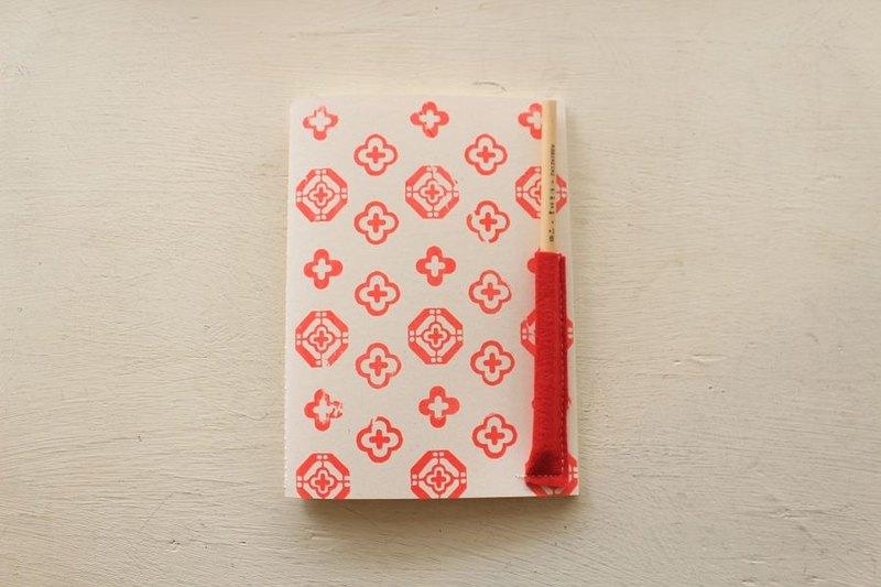 【ZhiZhiRen】厵 | 車縫線筆記本 - 前金窗花-小