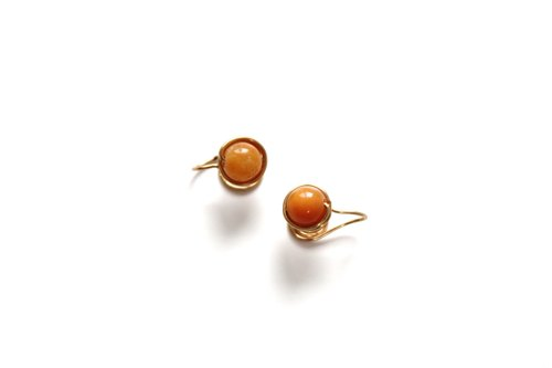 【 Jasper-yellow 】classic earring (Customizable clip-on)