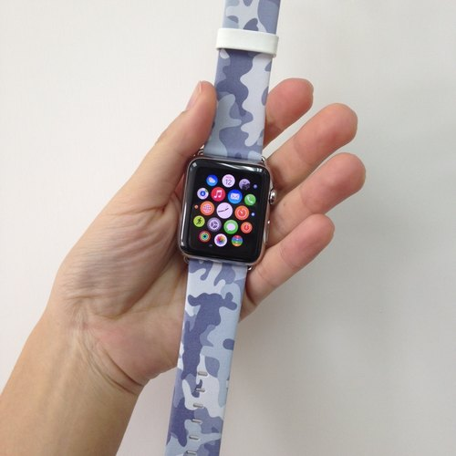 Apple Watch Series 1 , Series 2, Series 3 - Apple Watch 真皮手錶帶,適用於Apple Watch 及 Apple Watch Sport - Freshion 香港原創設計師品牌 - 銀灰迷彩圖案 12