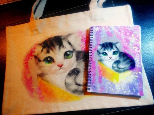 David painted designer cat _ _ Limited combination wisteria dream notebook bag +