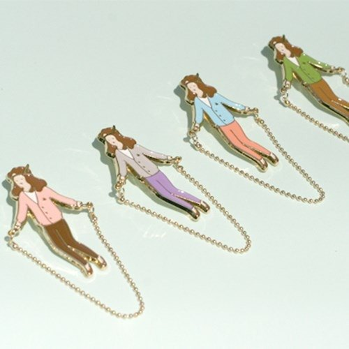 Skipping Girl Brooch - purple pants