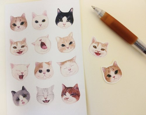 Little girl cat stickers