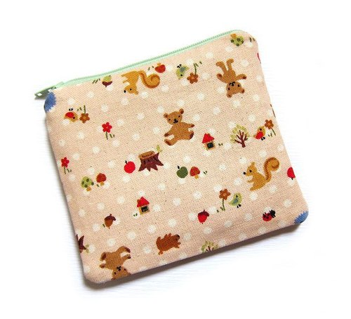 Zipper bag / purse / mobile phone sets countryside animals (powder)