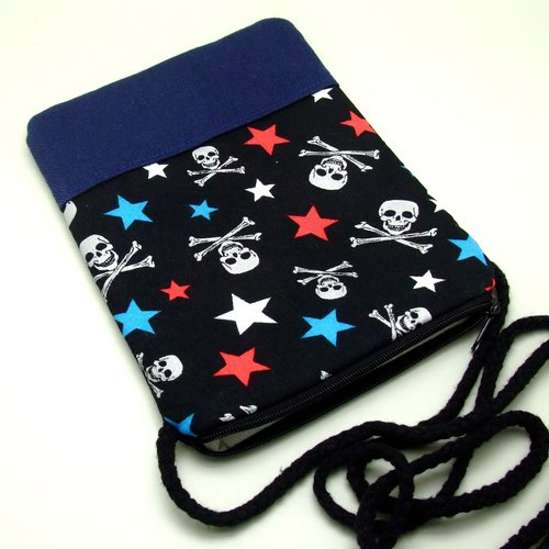 Cell phone bag / Smart phone bag / Shoulder purse / Crossbody bag ~ Skull (D-02)