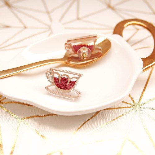 English Tea Earrings - Red
