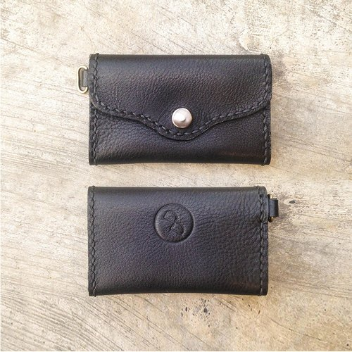 DUAL - all handmade vegetable tanned leather business card holder - black texture