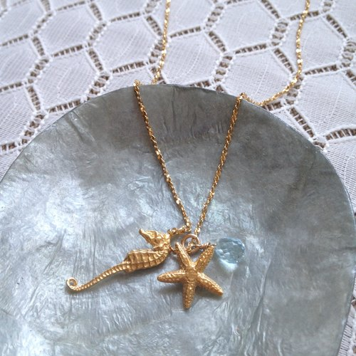 Starfish and hippocampus Topaz Necklace | CWHJ