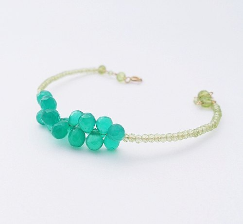 | Touch of moonlight | more ornate style gemstone peridot green chalcedony small semi-rigid bracelet
