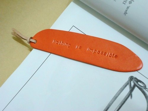 1 orange leather feel bookmark Bookmark--