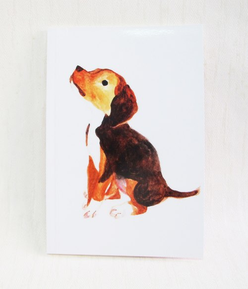 Beagle puppy painted watercolor notebook A5