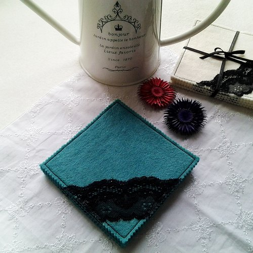MFP handmade black lace coasters deep peacock blue felt fabric into four groups