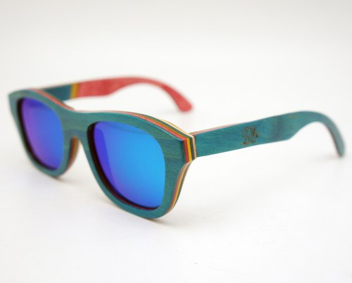 BLR 木製 太陽眼鏡  Wood Sunglasses Recycled Skateboard 湖水綠