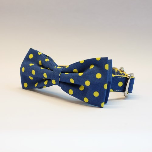 Blue / Yellow Polkadots Bowtie Collar