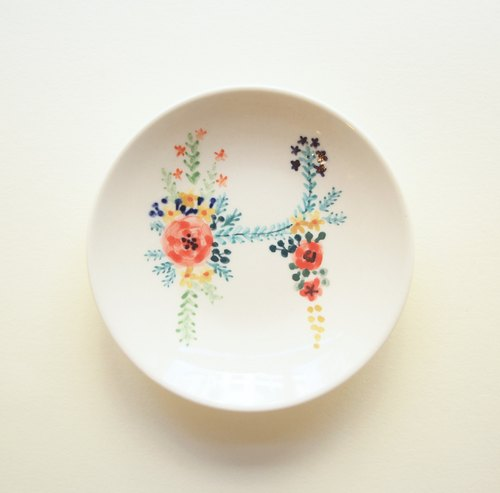 "Small hand-painted plates - the letter ""H"" (custom, name)"