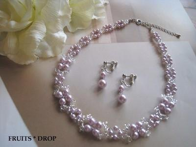 Pearl choker and earrings <MD: Purple> Wedding *