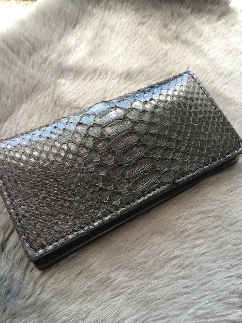 Rever Leather black snakeskin wallet long clip long purse zero within eight card slots and two notes inside bit long wallet black leather Keke name