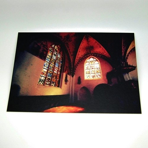 Travel Postcard: Lübeck, Germany.Stained glass windows of Heiligen-Geist-Hospital(Out of print)