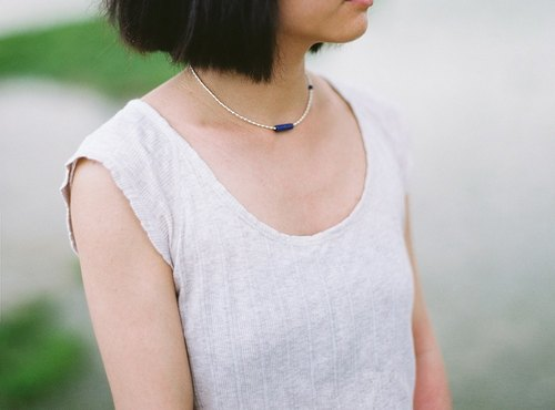 """Breath"" KOAN lapis lazuli necklaces handmade silver classic elegance to send her a gift"