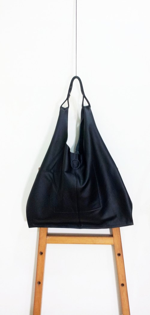Looking Fermat. Handmade leather shoulder bag / handbag / triangle bag