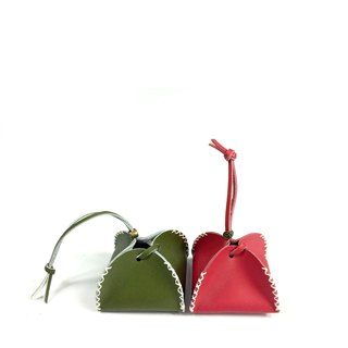 Zemoneni Leather purse all purpose for coin in red color one set Red & Green