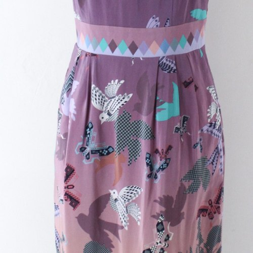 [RE0827D519] playful retro vintage purple dress Oufen