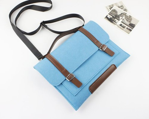 Original handmade blue blankets Apple computer protective sleeve blankets 12.9 inch iPad Pro laptop bag computer bag iPad Pro (can be tailored) - 042