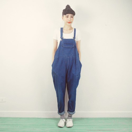 Large loose denim suspenders trousers AC9012