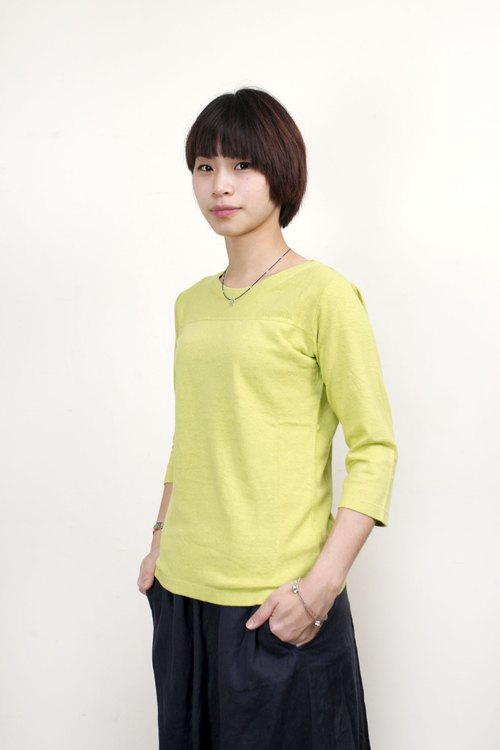 Gohemp organic cotton long-sleeved football TEE (female version) - yellow and green