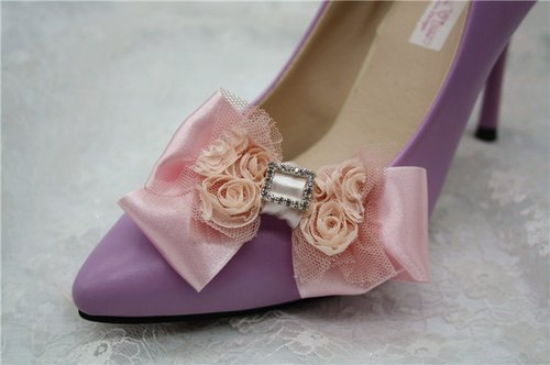 Romantic pink lace bow Crystal Rhinestone Cinderella wedding shoes high heels shoes decorated jewelry temperament bride