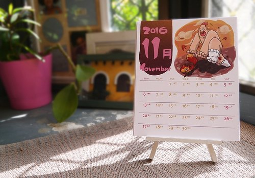 Stationery desk calendar cards 2016 calendar illustration Desktop