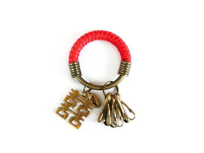 [Na UNA- excellent hand-made] key ring (small) 5.3CM Red + Happiness hand-woven wax rope hoop customization