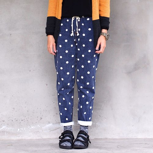 Calf Calf Village village wild little elastic belt slacks control} {Polka Dot Limited washed blue