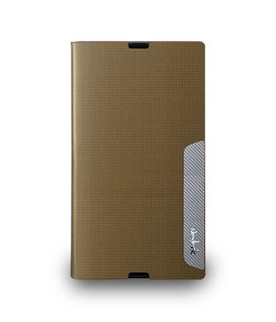 Sony Z Ultra standing square embossed leather - matte gold