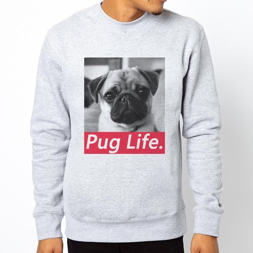 PUG LIFE # 2 University of bristles US cotton T- Grey Pug pug dog canine animal Wen Qing art design fashion fashionable word